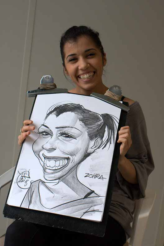 caricature d'une jeune fille